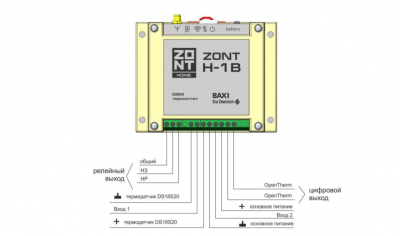 Система удаленного управления котлом ZONT H-1B со встроенным GSM модемом от BAXI